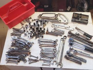 Ratchets  Extensions  Sockets  Combination Wrenches  Open End Wrenches  Box Wrenches  and Red Plastic Caddy   Numerous Different Brands to include Snap on