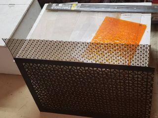 Plexiglass Pieces  Decorative Aluminum Sheeting  36 x 30 in  Decorative Wood Sheeting  37 x 24 in  and 36 in  Threshold