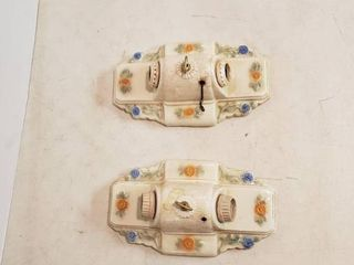 Pair of Vintage Glazed Ceramic Double lite Wall light Fixture   11 x 6 5 x 4 5 in    tote included