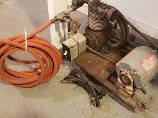 Vintage Air Compressor W Hose   1 3 HP Dayton Motor   Works   Cord may need taped or replaced to Switch   HEAVY   Bring help to load