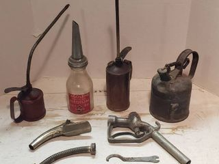 Vintage Oil   Fuel Dispensers  Oilers  Fuel Can  Fuel Nozzles  and Oil Can Punch Spout