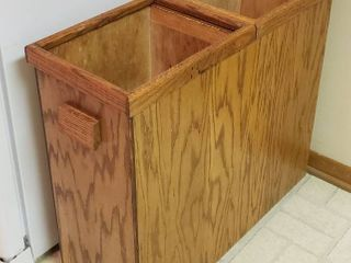 Wood Double Hole Waste Can   29 x 11 x 26 in  tall