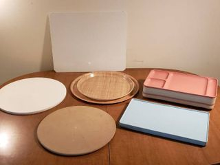 Glass Cutting Board  No Mess Dough Disc  Pampered Chef Pizza Stone  Round Camtray Platters  TWA lt  Blue Trays and Tupperware Dinner Trays