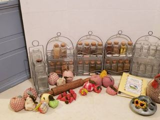 Kitchen Spice Racks  Condiment Rack  Milk Bottle  Rolling Pin  Cookbook  Cloth Fruit  Cloth Hen and Chicken Feeder Decor   Tote Included