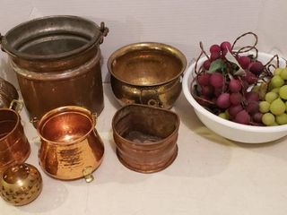 Copper   Brass Planters Pots and String of lighted Grapes  works