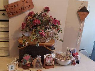 large Picnic Basket  Faux Flower Arrangement  Sign  and Other Decor