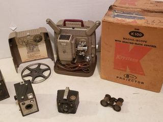 Vintage Keystone 8mm Projector  powers on   lights up  Agfa Box Camera  Ansco Shur shot Jr  Brownie Flash six 20 Camera and Opera Glasses