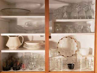 Stemware  Serving Bowls  Stoneware  SKEllY on the rocks glasses  Clear Glass Bowls  and Milk Glass Egg Plate   Bring boxes to pack out