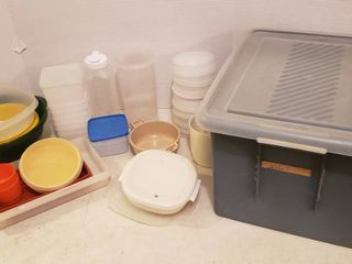 Mixed Plastic Kitchen Storage w  Tote