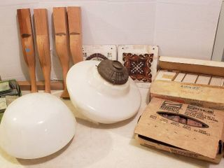 2 large White Glass light Fixture Globes  4 x 4 in  tile  Brick Tile  Wood legs and Mirror Pieces