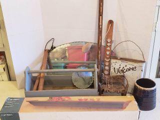Wood Tool Caddy  Floating Shelf  NIB  Vintage Cut Edge Mirrors  Wood Clubs  Metal Welcome Decor  Cookie Jar  bottom only