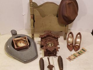 Green Magazine Rack  Vintage Hat   Shoes  Cuckoo Clock  Metal Bed Pan and Puffer Fish in Box