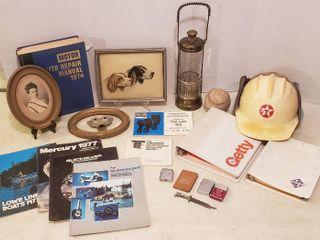 Gas Company Items  Boating Fishing Manuals  1974 Motor Auto Repair Manual  Vintage Photo   Metal Frames  Music Box Decanter  lighter