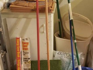 long Handle Cleaning Tools  Trash Can  Compost Sacks  Bags  Rolling Plant Stand  and Ice Melt  cabinet not included