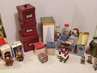 Christmas Decorations  Figurines  Boxes  Dishes  Placemats Napkins  Craft Items   includes 3 Totes  2 are Flip Top lids