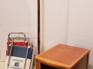 Heat a lot Infrared Furnace   needs one caster see pix  works  Brass Floor lamp   50 in  tall  works  and 2 Vintage Stadium Seats