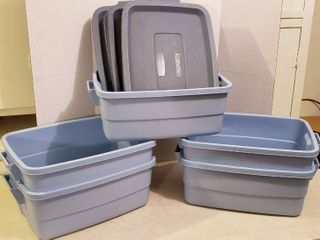 5 Rubbermaid Roughneck Totes w  lids   9 gal  Size