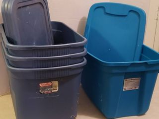 4 Totes w  lids   3 Sterilite and 1 Great Solutions