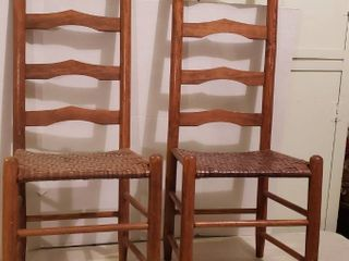 Pair of ladder Back Chairs w  Woven Seats   17 x 15 x 42 in  tall   Slight damage to one chair   see pix