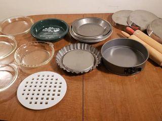 Metal   Glass Pie Pans  Tart Pan  Springform Pan  2 Wood Rolling Pins  and 3 Stainless steel Cake Pans