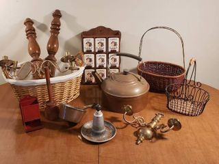 Vintage Kitchen Decor   Rooster Spice Rack  Copper Tea Pot  Baskets  Wood   Brass Wall Sconces  and Cooking Items