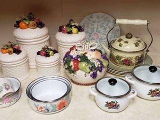 4 Fruit Top Canisters  Dinner Plates  Floral Enamelware Bowls   Pots Cookie Jar and Tea Pot