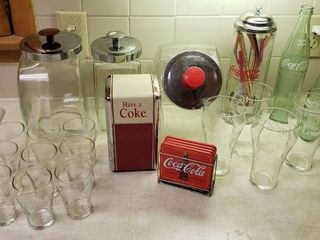 Coca Cola Items and 3 Candy Jar Canisters