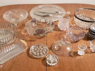 Clear Pressed Glass Serving Items   Platter  Bowls  Utensils  Flower Frogs  and others