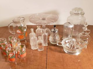 Kitchen Glass Serving Items   Cake Stand  Juice Glasses w Pitcher  Condiment Jars and Juicer