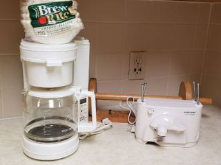 West Bend Coffee Maker w filters  Wood Paper Towel Holder and Black   Decker Space Maker Electric Can Opener