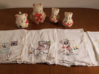 Poke a Dot Smiley Pigs  S   P Shakers and Cream   Sugar Set  and 4 Embroidered Kitchen Towels