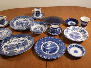 Romantic England J  G  Meakin English Ironstone Dishes  Blue Willow Dishes  Flo Blue Dishes and Others