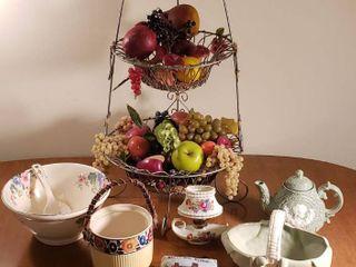 large 2 Tier Wire Fruit Basket  Tea Pot  Ceramic Basket Ceramic Oil lamp  and Vintage Kitchen Bowl   Scoop