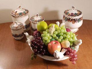 lefton 4 Pc  Fruit Design Canister Set and Resin Bird Bath Fruit Basket
