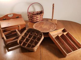 12 in    21 in  Wooden lazy Susan  3 Baskets  Wood Fruit Hook  Wood Utensils Holder  and Wood Flip Top Box