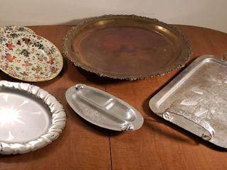Metal Trays Platters   Brass  Aluminum and Steel