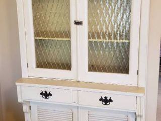 Butter Yellow Painted Antique Cupboard   37 x 21 x 73 in  tall   Amber Diamond Glass Panels