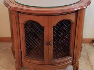 Round Single Door Cabinet Accent Table   25 in  diameter x 24 in  tall