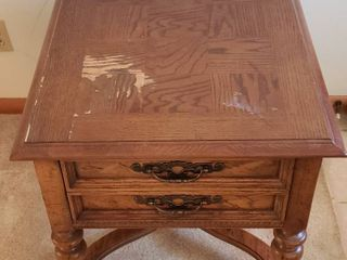Single Drawer Accent Table   23 x 27 x 24 in  tall   some water damage on top