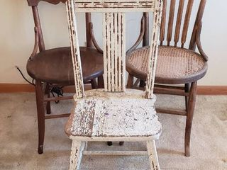 3 Wood Chairs   all some TlC