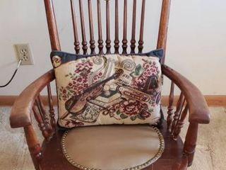 Antique Sewing Rocking Chair   has been repaired   Seat  16 in
