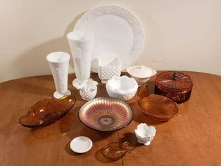 Milk Glass  Amber Glass  and Carnival Glass Dishes