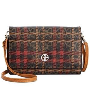 Giani Bernini Plaid Block Signature Crossbody Wallet Retail   49 99