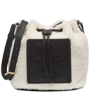 Dkny Tilly Stacked logo Sherpa Drawstring Bucket Bag Retail   149 99