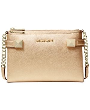 Michael Kors Karla Metallic Ballet Gold leather East West Crossbody Handbag Retail   139 99