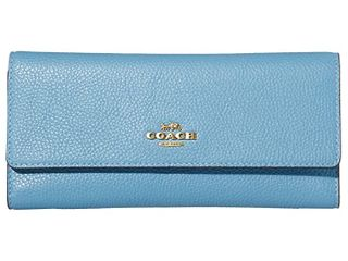 Women s Coach Pebbled leather Trifold Wallet   Blue Retail   149 99