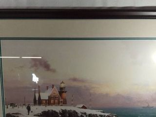 Art Work By Thomas Kincade A Picture Of a House Off a Cliff
