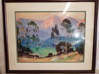 BEAUTIFUl Mountain Range landscape Artwork  By Alfred Mitchell  large  Framed