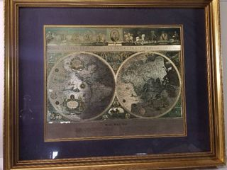 Blaeu Wall Map Copy  Wood Frame