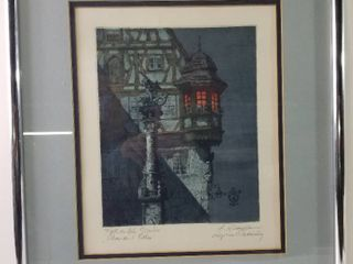 Gothic Building Artwork  Original  Framed